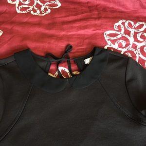 Cooperative Dresses - Peter Pan Collar Little Black Dress w/Back Cutout